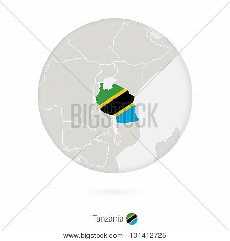 Map Of Tanzania And National Flag In A Circle.