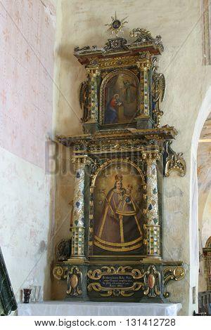 VUGROVEC, CROATIA - MAY 07: Altar of the Blessed Virgin Mary in the Church of Saint Saint Michael in Vugrovec, Croatia on May 07, 2014