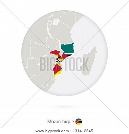 Map Of Mozambique And National Flag In A Circle.