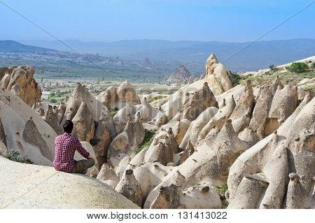Traveler In Mountains, Cappadocia, Turkey