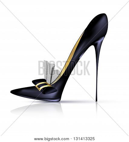 white background and the black ladys shoe with veil and bow