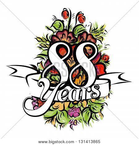 88 Years Greeting Card Design