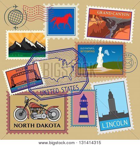 United State vintage post stamps set, vector illustration