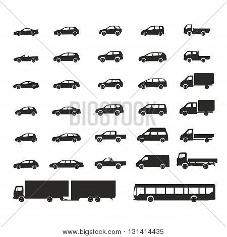 car icons big set vector vehicles illustration