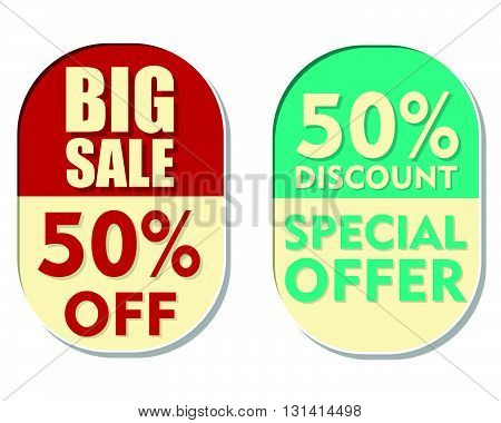 50 percent off discount, big sale and special offer text banners, two elliptic flat design labels, business shopping concept, vector