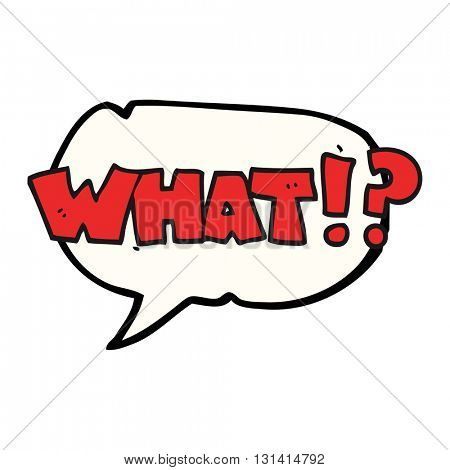 freehand drawn speech bubble cartoon shout WHAT!?