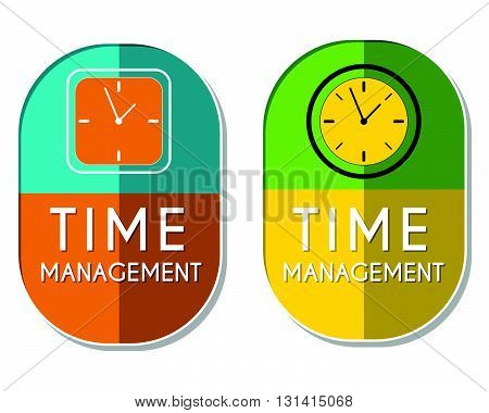 time management with clock signs, two elliptic flat design labels with icons, business organizing concept symbols, vector