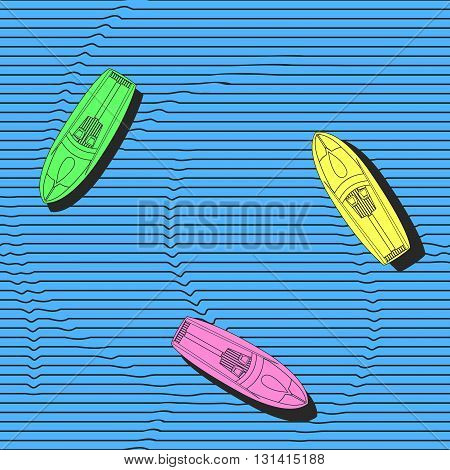 Hand drawn colorful boats on the sea surface vector seamless pattern. Repeating elegant background with marine theme for wallpapers textile or wrapping paper. Isolated vector illustration.