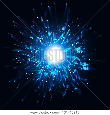 Blue techno style vector explosion, Vector illustration