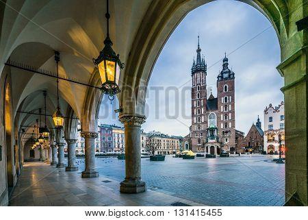 Moody Krakow Market Square, Poland, Europe