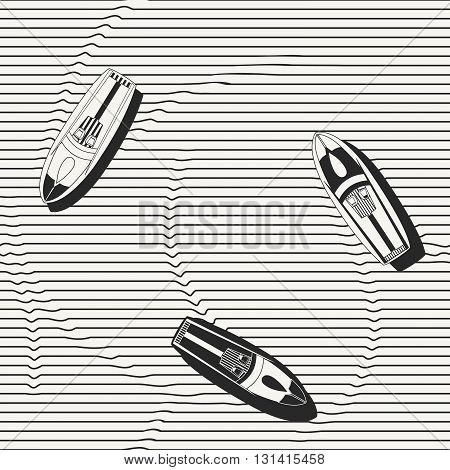 Vector seamless pattern. Hand drawn speedboats in the sea - monochrome repeating background for fabric wallpapers and prints.  vector illustration.