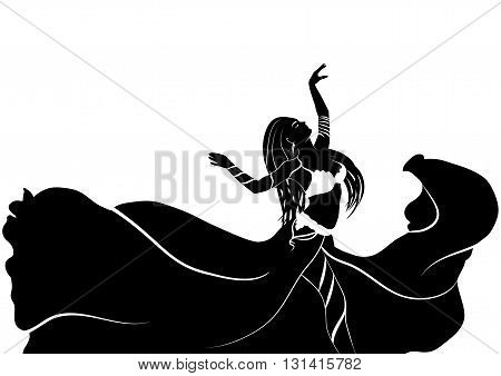 Drawing of a black-and-white silhouette of a dancing woman in wind-shaken pleated skirt  and bodice on a white background. Belly dance