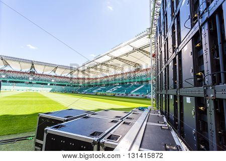 Warsaw Poland - July 22015: Led screen installed on the Legia stadium in Warsaw before an multimedia event