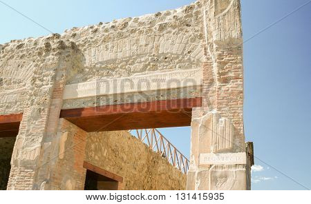 Architectural archway with stonework detail Pompeii Italy