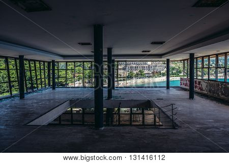 inside the abandoned hotel in former Tourist Complex of Kupari village Croatia