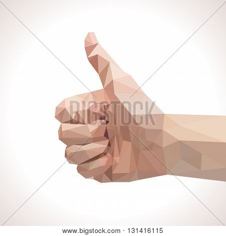 Low polygonal thumbs up like sign vector illustration
