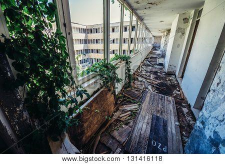 corridor in abandoned hotel in former Tourist Complex of Kupari village Croatia