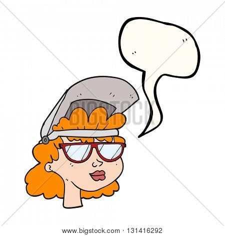 Freehand drawn speech bubble cartoon woman with welding mask and glasses
