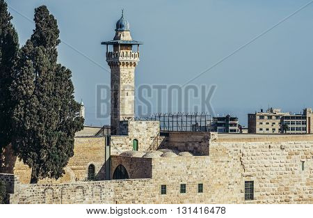 view on Al-Aqsa Mosque in Jerusalem Israel