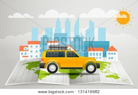 World map with the bus. Vector infographic elements. Summer vacation vector concept