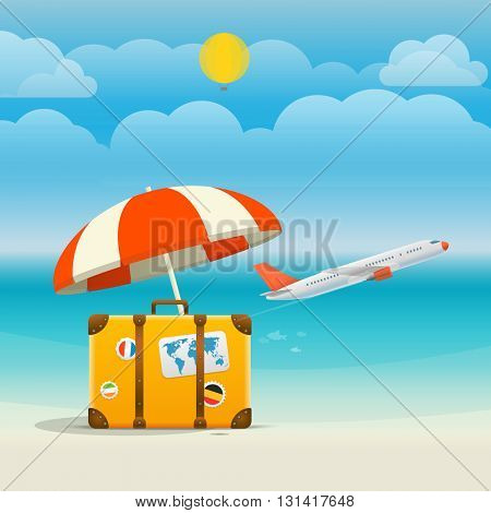 Flying aircraft vacation concept. Flat design illustration