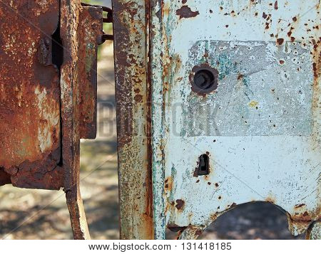 Rusty lock of an old gate in Jelenia Gora, Poland