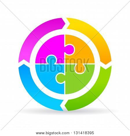 Blank four part cycle diagram isolated on white background
