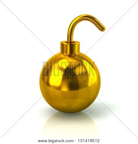 3d illustration of golden bomb icon isolated on white background