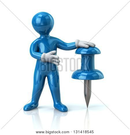 3d illustration of blue man and push pin isolated on white background