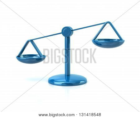 3d illustration of blue justice scales icon isolated on white background