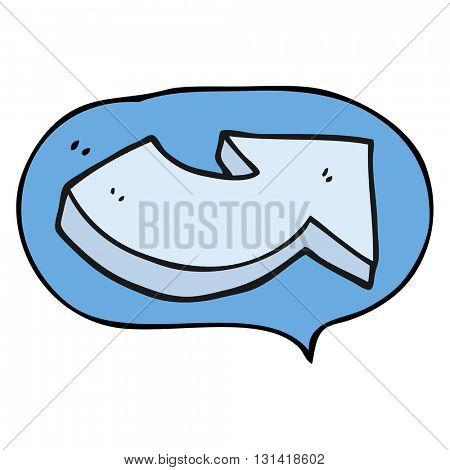 freehand drawn speech bubble cartoon pointing arrow