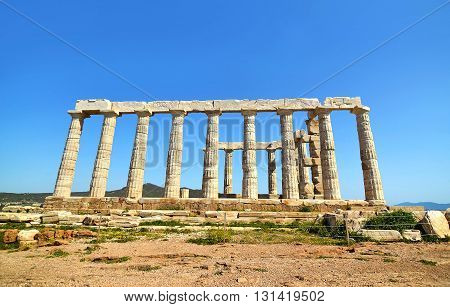 temple of Poseidon at Cape Sounion Attica Greece - greek ancient landmarks
