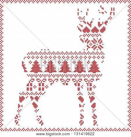 Scandinavian Norwegian style  winter stitching  knitting  christmas pattern in  in deer silhouette including snowflakes, hearts xmas trees c, snow, stars, decorative ornaments on white background