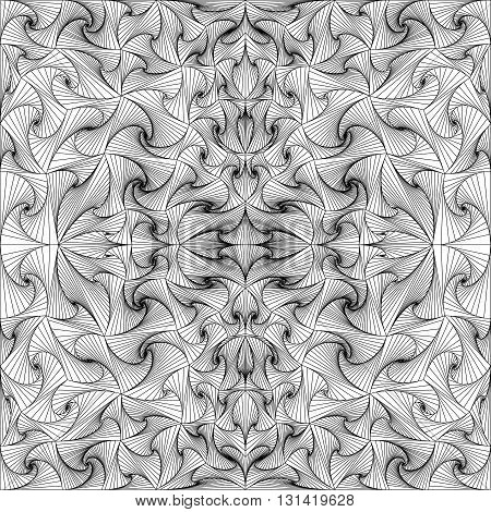 Abstract vector seamless black white background of lines. Monochrome pattern.