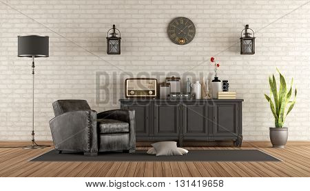 Retro living room with leather armchair and sideboard - 3d rendering