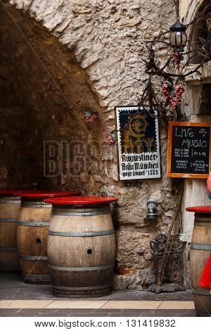Garda Italy - May 03 2016: Beer barrels near the old beer restaurant in the old town