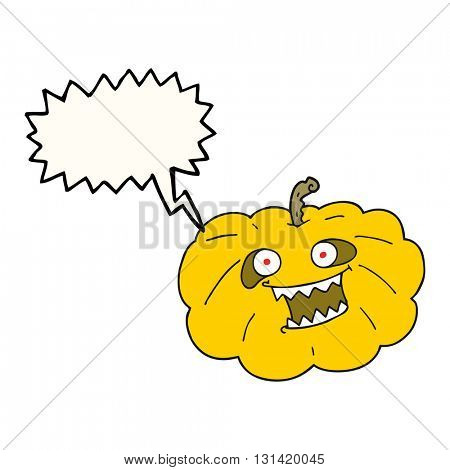 freehand drawn speech bubble cartoon halloween pumpkin