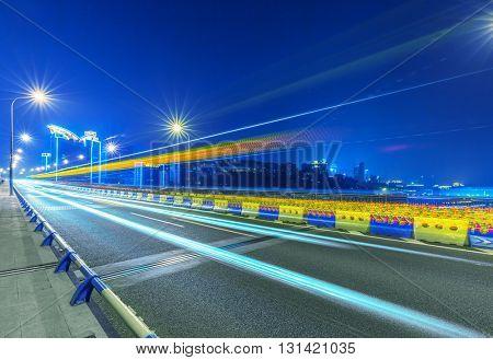 traffic trails,yangtse river bridge,chongqing china.