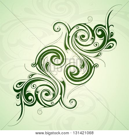 Graphic design element with symmetric floral ornament