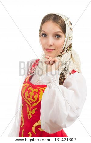beautiful smiling russian girl in folk costume isolated on white