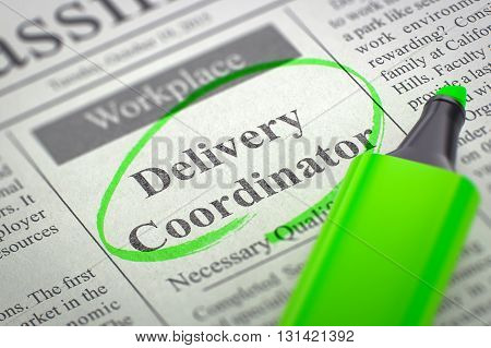 Delivery Coordinator - Small Ads of Job Search in Newspaper, Circled with a Green Marker. Blurred Image. Selective focus. Job Search Concept. 3D Render.