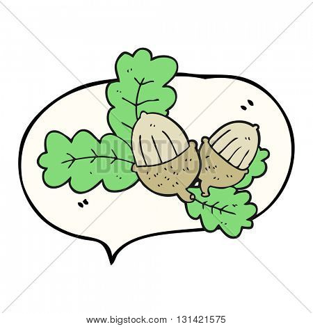 freehand drawn speech bubble cartoon acorns and leaves