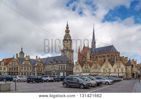 View of main market square with belfry and church in Veurne Belgium