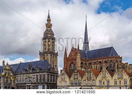 View of belfry and church of Saint Walburga in Veurne Belgium