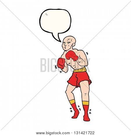freehand drawn speech bubble cartoon boxer