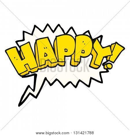 freehand drawn speech bubble cartoon happy text symbol