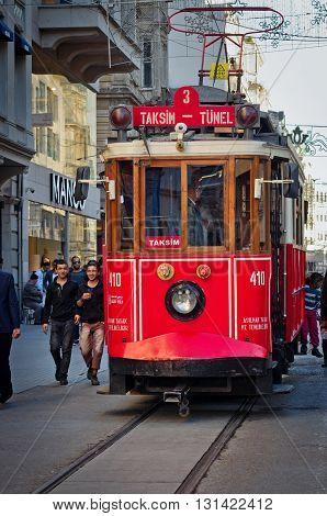Istanbul Nostalgic Tramways On Istiklal Avenue In Istanbul,turke