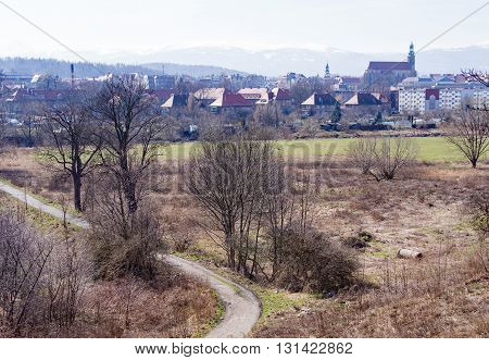 Houses in front of the Giant Mountains in Jelenia Gora, Silesia, Poland