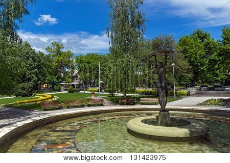 Fountain and park in the center of the town of Hisarya, Plovdiv Region, Bulgaria