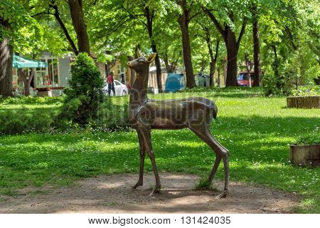 Green Grass and park in the center of the town of Hisarya, Plovdiv Region, Bulgaria